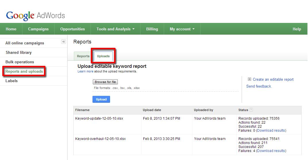 Google AdWords: загружай и действуй!